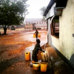 When it rains everyone (usually women and children) collect as much water as possible